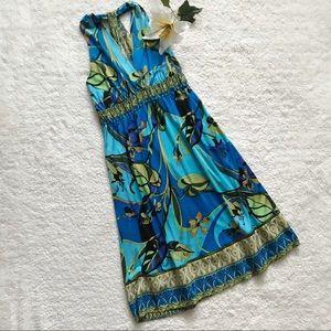 Hale Bob blue 100% Silk Summer Sun Dress BB16